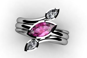 Marquise Pink Sapphire & Pear Cut Diamond Ring Design by Robert Feather Jewellery