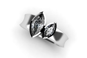Two Stone Marquise Diamond Platinum Ring Design by Robert Feather Jewellery