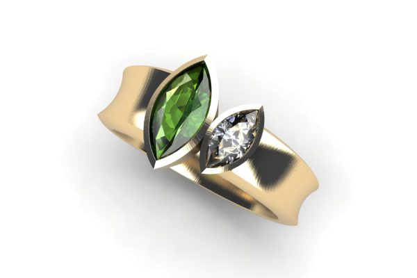 Marquise Cut Tourmaline & Diamond 18ct Gold Ring by Robert Feather Jewellery