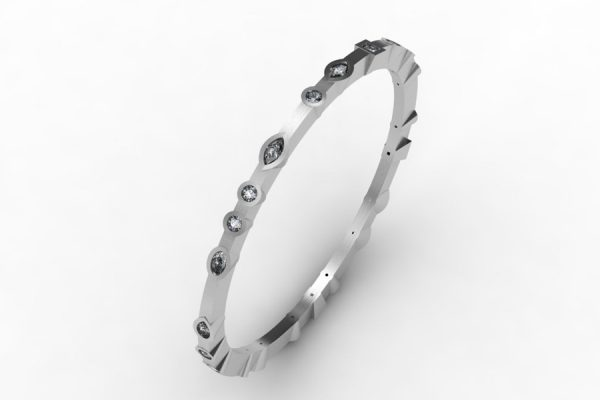 Mixed Shaped Diamond Set Platinum Bangle Design by Robert Feather Jewellery