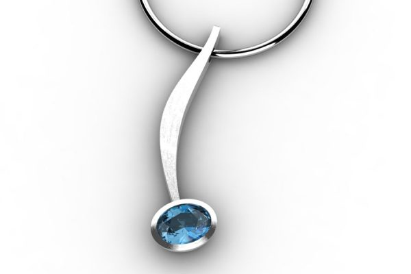 Curved Bar Design Oval Blue Topaz Silver Necklace by Robert Feather Jewellery