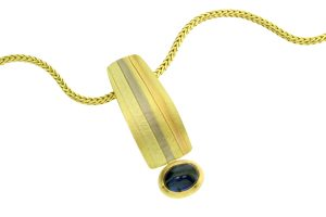 Oval Cabochon Sapphire 18ct Striped Coloured Gold Necklace by Robert Feather Jewellery