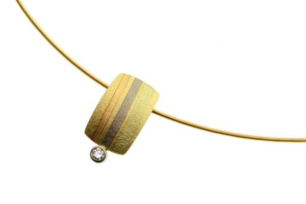 Diamond 18ct Striped Coloured Gold Necklace by Robert Feather Jewellery