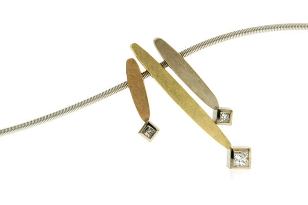 Leaf Design Princess Cut Diamond 18ct Coloured Gold Necklace by Robert Feather Jewellery