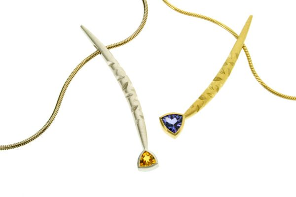 Notch Pattern Trillion Yellow Sapphire & Tanzanite 18ct Gold Necklaces by Robert Feather Jewellery