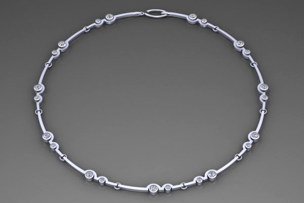 Platinum Necklace Design with 4mm & 2.7mm RoundBrilliant Cut Diamonds : Length 43cm by Robert Feather Jewellery