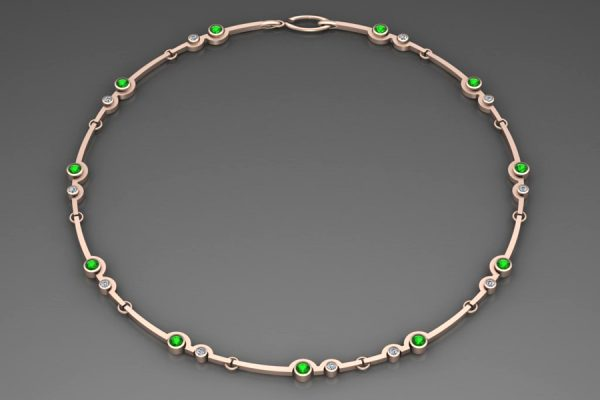 18ct Red Gold Necklace Design with 4mm Tsavorites & 2.7mm Brilliant Cut Diamonds : Length 43cm by Robert Feather Jewellery