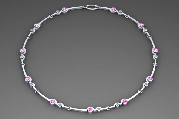 18ct White Gold Necklace Design with 4mm Pink Sapphires & 2.7mm Brilliant Cut Diamonds : Length 43cm by Robert Feather Jewellery