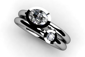 Oval & Round Brilliant Cut Diamond Platinum Ring by Robert Feather Jewellery
