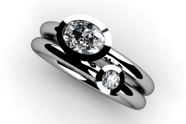 Oval & Round Brilliant Cut Diamond Platinum Ring by Robert Feather Jewellery