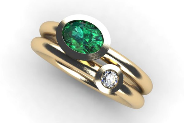 Oval Emerald & Round Brilliant Cut Diamond 18ct Gold Ring Design by Robert Feather Jewellery
