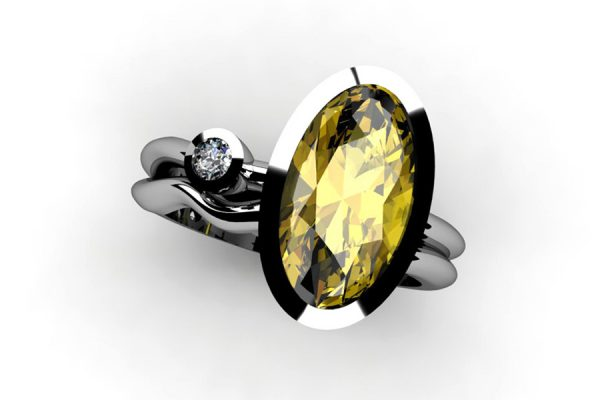 Oval Yellow Sapphire & Round Brilliant Cut Diamond 18ct White Gold Ring by Robert Feather Jewellery