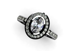 Oval Diamond & Diamond Set Platinum Ring Design by Robert Feather Jewellery
