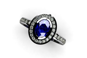 Oval Sapphire & Green Diamond Set Platinum Ring Design by Robert Feather Jewellery