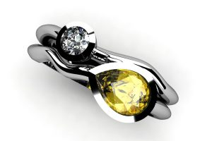 Pear Cut Yellow Sapphire & Round Brilliant Cut Diamond 18ct White Gold Ring by Robert Feather Jewellery