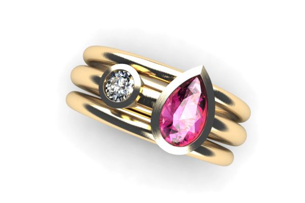 Pear Cut Pink Sapphire & Round Brilliant Cut Diamond 18ct Gold Ring by Robert Feather Jewellery