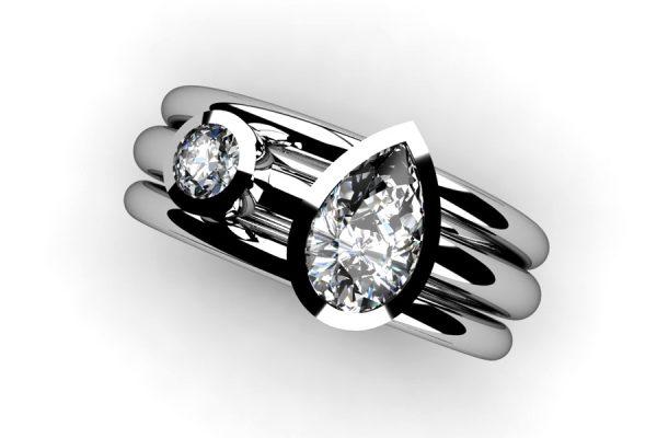 Pear Cut Diamond & Round Brilliant Cut Diamond Platinum Ring by Robert Feather Jewellery