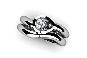 Pear Diamond Platinum Engagement & Wedding Ring Design by Robert Feather Jewellery
