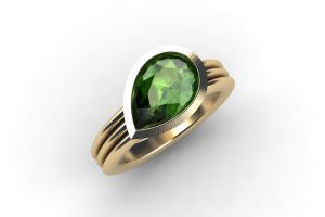 Pear Cut Green Tourmaline 18ct Gold Ring by Robert Feather Jewellery