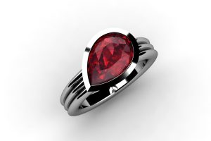 Pear Cut Ruby Platinum Ring Design by Robert Feather Jewellery