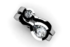 Pear Cut Diamond & Round Brilliant Cut Diamond Platinum Ring by Robert Feather Jewellery