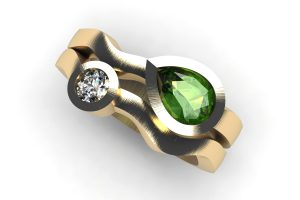 Pear Cut Green Tourmaline & Round Brilliant Cut Diamond 18ct Gold Ring by Robert Feather Jewellery