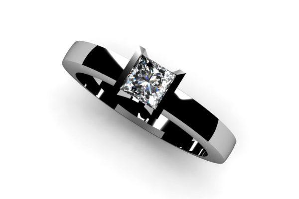 Princess Cut Diamond Platinum Ring by Robert Feather Jewellery