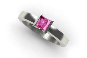 Princess Cut Pink Sapphire 18ct White Gold Ring Design by Robert Feather Jewellery