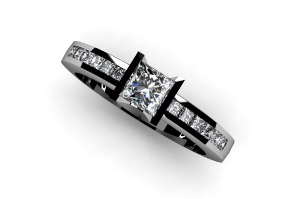 Princess Cut Diamond Platinum Ring Design by Robert Feather Jewellery