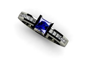 Princess Cut Sapphire & Diamond 18ct White Gold Ring by Robert Feather Jewellery