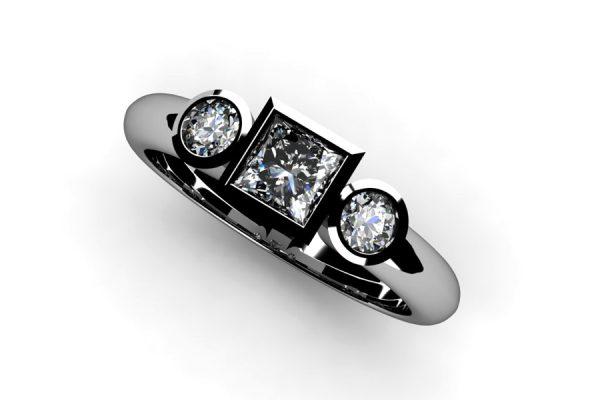 Three Stone Princess Cut & Round Brilliant Cut Diamond Platinum Ring Design by Robert Feather Jewellery