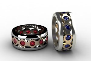 Ruby & Sapphire Set 18ct Gold Stacking Ring Designs by Robert Feather Jewellery