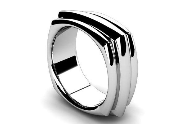 Four Sided Palladium Wedding Ring Design by Robert Feather Jewellery
