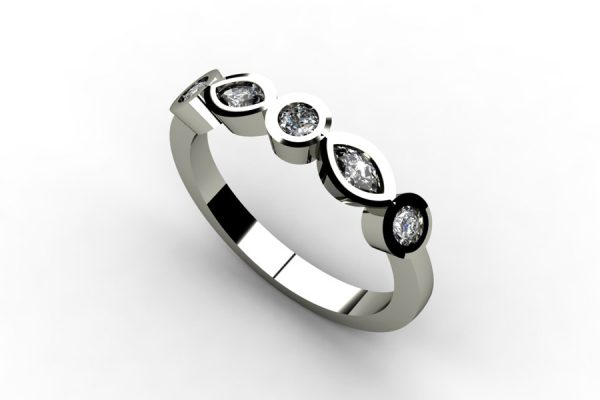 Marquise Cut & Round Brilliant Cut Diamond Platinum Ring Design by Robert Feather Jewellery