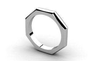 Eight Sided 18ct White Gold Ring Design by Robert Feather Jewellery