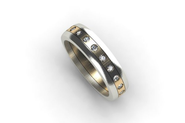 18ct White & Yellow Gold Diamond Set Ring by Robert Feather Jewellery