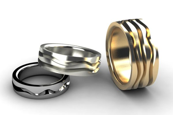 Stream Patterned Platinum & 18ct Gold Wedding Ring Designs by Robert Feather Jewellery