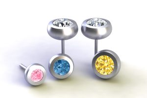 Round Brilliant Cut Coloured Diamond Platinum Ear Stud Designs by Robert Feather Jewellery