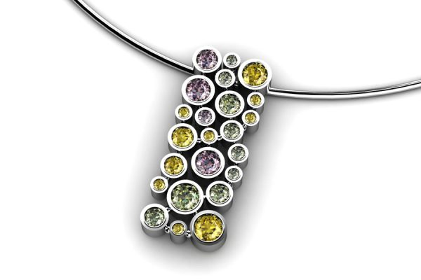 Bubble Design Coloured Sapphire 18ct White Gold Necklace by Robert Feather Jewellery