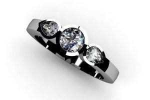 Three Stone Round Brilliant Cut and Pear Cut Diamond Platinum Ring by Robert Feather Jewellery