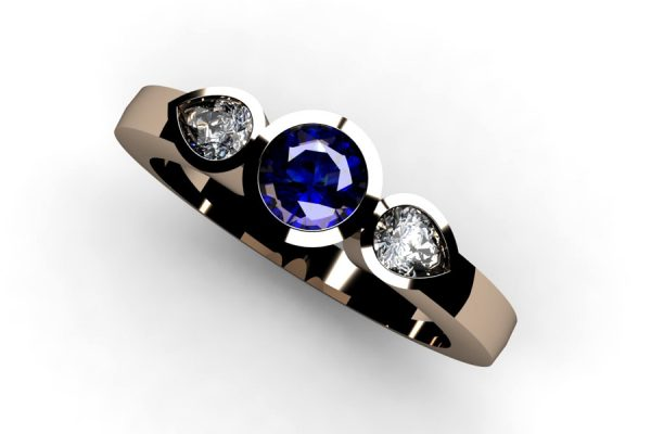 Three Stone Round Sapphire & Pear Cut Diamond 18ct Red Gold Ring Design by Robert Feather Jewellery