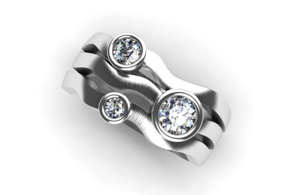 Three Stone Round Brilliant Cut Diamond Platinum Ring Design by Robert Feather Jewellery