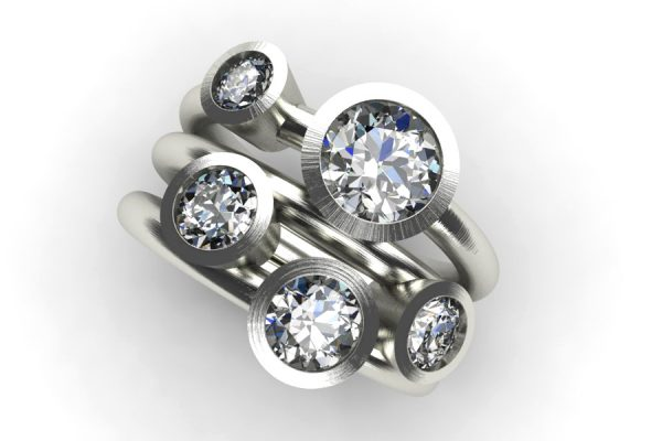 Five Stone Round Brilliant Cut Diamond Platinum Ring by Robert Feather Jewellery