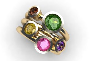Five Coloured Stone 18ct Gold Ring Design by Robert Feather Jewellery