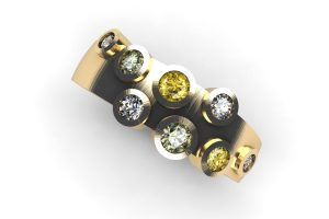 Round Brilliant Cut Diamond & Sapphire 18ct Gold Ring Design by Robert Feather Jewellery