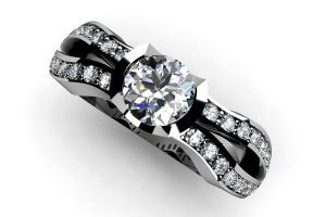 Round Brilliant Cut Diamond Platinum Ring & Diamond Set Shoulders by Robert Feather Jewellery