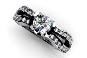Round Brilliant Cut Diamond Platinum Ring & Diamond Set Shoulders by Robert Feather Jewellery
