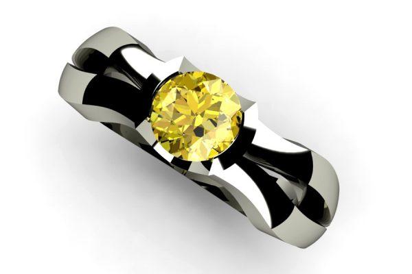 Yellow Round Brilliant Cut Diamond Platinum Ring Design by Robert Feather Jewellery