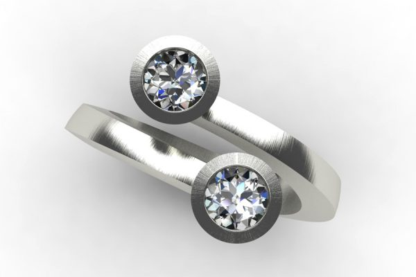 Two Stone Round Brilliant Cut Diamond Platinum Ring by Robert Feather Jewellery