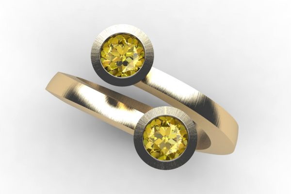 Two Stone Round Brilliant Cut Yellow Diamond 18ct Gold Ring Design by Robert Feather Jewellery